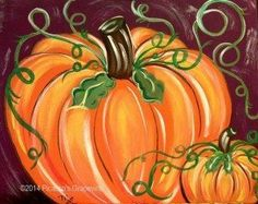 2118 - Pumpkin Pie - wine and canvas, painting and wine Picasso\'s Grapevine, WIne Painting Parties in Michigan, Painting Studio, Wine Painting Parties, Clarkston MI