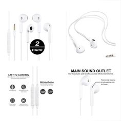 DUKER 2 Pack In-Ear Wired Headphones Earbuds Stereo Earphones with Microphone&Volume Control for iPhone iPad iPod Samsung PC MP3 MP4 Tablet Cellphone Mobile Phone All 3.5mm Interface Device White