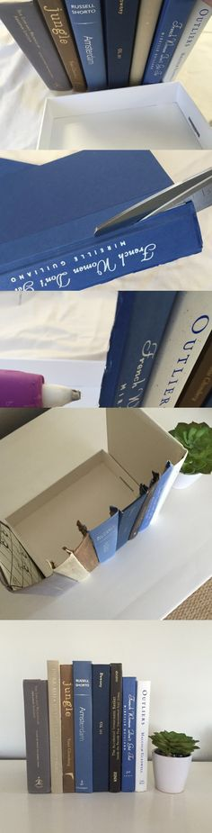 A Clever Way to Hide Clutter: Behind Fake Books! Martha Stewart Living - Are you looking for a way to hide wires, a router, or maybe your remotes? Hide your clutter in plain sight behind these DIY fake books. Even better, they are easy (and inexpensive! Book Crafts, Diy And Crafts, Hide Router, Living Room Hacks, Hide Wires, Hide Cables, Multipurpose Furniture, Creation Deco, Ideas Hogar