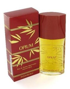 Opium by Yves Saint Laurent. Launched in 1977 to overwhelming success its oriental spicy fragrance held a note of decadence. Top notes of plum, coriander, orange, pepper, cloves and jasmine it is a sensual warm spicy scent.
