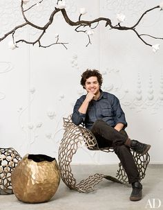 """David Wiseman, american (b.1981)_ For Los Angeles-based designer David Wiseman, design is a way of """"investigating ways of bringing nature indoors."""" The Rhode Island Institute of Design graduate finds inspiration in the beauty of the natural world—flowers, crystals, insects, branches, and glaciers—forms he transforms into ceramics, lighting, installations, and decorative objects with painstaking craft"""
