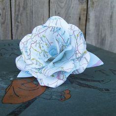 Beautiful Handmade Map Paper Flower Rose www.wearedcrafts.co.uk