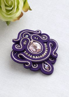 Purple statement soutache brooch, violet beaming brooch, brilliant pink crystal brooch, gift for mom or grandma