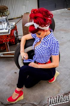 Rockabilly hair. Pinup hair. Red hair. hotrodresources.com. Suavecita pomade.