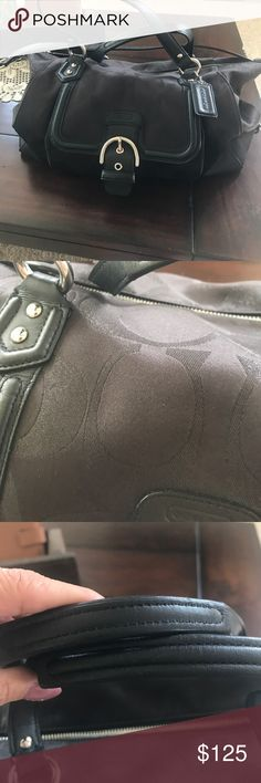 Pristine Large coach bag Authentic. Perfect condition Large coach bag. Front pocket. Carry handles, and strap for shoulder. No flaws. Like new. Coach Bags Satchels