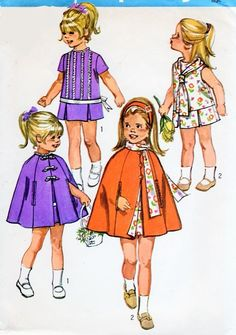 70s Toddler Little Girls Dress Scarf and Cape Pattern Simplicity 9246 Girls Vintage Sewing Pattern Size 3 UNCUT