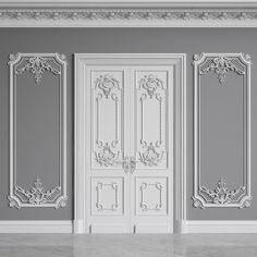 Classic Interior Walls model door mouldings plintus, formats MAX, FBX, DAE, ready for animation and other projects Door Design, Wall Design, House Design, Classic Interior, Luxury Interior, Baroque Decor, Decorative Plaster, Classic Doors, French Walls