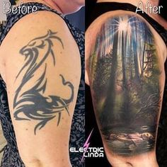 A mysterious coverup - bye bye tribal/dragon/nose - hello floating girl in the lake under the trees - Old Tattoos, Cover Up Tattoos, Life Tattoos, Body Art Tattoos, Tatoos, Girl Neck Tattoos, Sleeve Tattoos, Tribal Cover Up, Tattoo Process