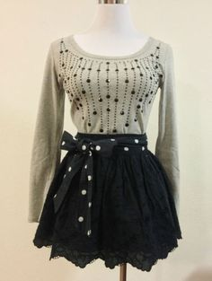 NWT Hollister Women Embroidered Eyelet Lace Polka Dot Mini Skirt Shaws Cove S