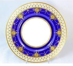 Tiffany Minton Porcelain China Set 10 Dinner Plates Cobalt Raised Gold Encrusted | eBay