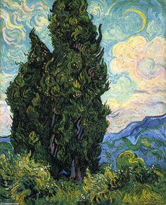 """""""Zypressen"""", öl auf leinwand von Vincent Van Gogh (1853-1890, Netherlands)"""