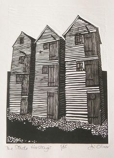 The Stade Hastings Di Oliver Linocut Edition of 25