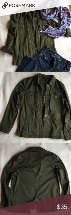 Forever 21 Olive Utility Jacket Forever 21 Olive Utility Jacket. So cute! Lightweight, soft and like new! Great with jeans, shorts, flats, boots or sneakers. Hate to let it go. But, making room to buy other items! Forever 21 Jackets & Coats Utility Jackets