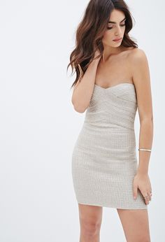 Strapless Metallic Bandage Dress | Forever 21 - 2000078909