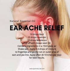 Try this natural essential oil ear ache relief blend. Combine Basil, Lavender, Melaleuca, and Grapeseed oil to a bottle and apply to outer parts of the ear for a natural pain reliever and antibacterial. 100 Pure Essential Oils, Essential Oil Diffuser Blends, Young Living Essential Oils, Oils For Ear Ache, Young Living Oils, Painful Joints, Esential Oils, Bottle, Doterra Oils
