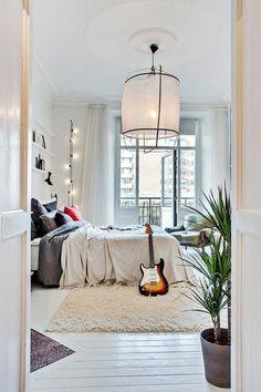 parquet blanc, chambre à coucher magnifique