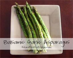 Looking for a healthy side dish to go along with your meal? Try this simple and delicious balsamic garlic asparagus from HeandSheEatClean.com! #eatclean #vegetable #healthy #asparagus #side