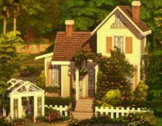 i always use way too many packs in my builds, so for once i wanted to make something everyone could use! here's a small, yellow base game house. no cc, on the gallery under ea id a-winged-llama : thesims Sims 4 House Plans, Sims 4 House Building, Sims 4 House Design, Casas The Sims 4, Suburban House, Sims 4 Build, Sims 4 Houses, Sims 4 Game, Sims 4 Custom Content