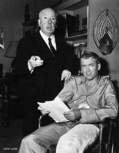 Alfred Hitchcock & James Stewart on the set of Rear Window (1954)