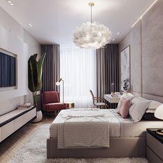 Red Rooms: 60 decorating projects to inspire - Home Fashion Trend Condo Interior Design, Apartment Design, Studio Interior, Interior Livingroom, Minimalist Bedroom, Modern Bedroom, Contemporary Bedroom Designs, Condominium Interior, Small Master Bedroom