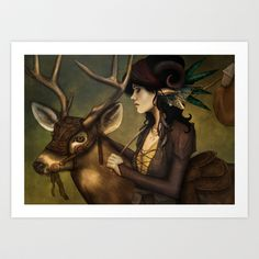 Wander Fawn: Detail Art Print by Hallowette - $15.00
