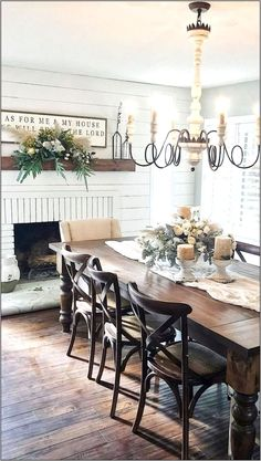 10 Farmhouse Dining Table For Any Homey Design Farmhouse Dining Room design Dining Farmhouse Homey Table Farmhouse Dining Room Table, Dining Room Walls, Dining Room Design, Fireplace In Dining Room, Country Dining Rooms, Kitchen Tables, Dining Room Table Chairs, Kitchen Dining Rooms, Dining Rooms With Fireplaces