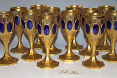 A Rare, Extensive Sapphire and Clear Moser Glass Stemware Drinking Service | From a unique collection of antique and modern glass at http://www.1stdibs.com/furniture/dining-entertaining/glass/