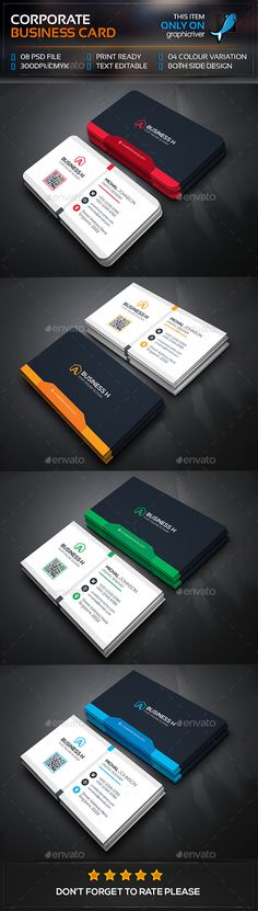 Corporate Business Card Template PSD #design Download: http://graphicriver.net/item/corporate-business-card/13418415?ref=ksioks