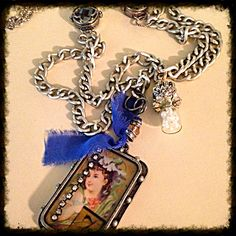 New necklace vintage long chain with cobalt accents
