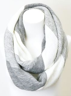 White & Gray Stripe Infinity Scarf