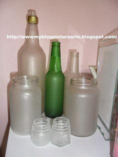 Falso jateado  em vidro e plástico...how to make frosted glass using var...