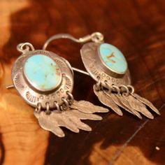 Vintage Sterling Silver - BOMA Turquoise & Fringe 5g - Dangle Earrings YM613