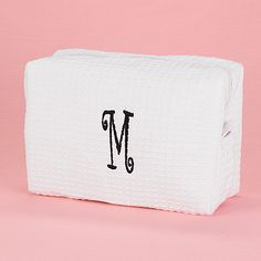 Personalized Cosmetic Bag http://bustlingbride.carlsoncraft.com/Wedding/Wedding-Party-Gifts/ZB-ZBKXCBWHP-Personalized-Cosmetic-Bag--White.pro great gift for her or bridesmaid gift idea!