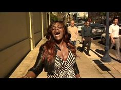 "A homeless women, Lotus Sole, living on the streets of San Diego belts out a gospel song from Jennifer Hudson and ""Fairy Tales"" by Anita Baker.  Another homeless gem like Ted Williams?      apparently 10News got a hold of her: http://www.10news.com/news/26827793/detail.html"
