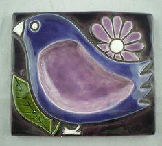 Art Pottery Trivet Tile Wall Art Textile Trinket Jewelry Purple Bird Flower