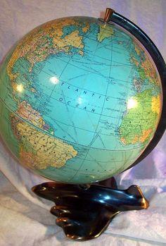 1949 Weber Costello peerless globe map vintage streamline Art Deco airplane base #WeberCostello