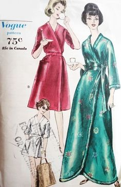 8ee93c91a0 1960s Housecoat Robe Pattern Vogue 5637 Beach Coat or Hostess Gown 3  Lengths Size 10-