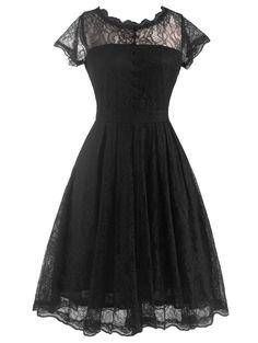 Retro Laciness Back V Dress For Women