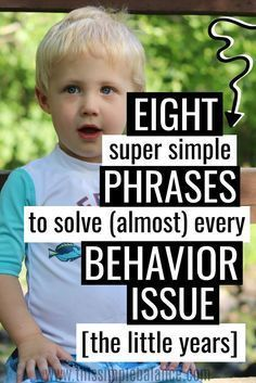 Parenting the little years can be SO tough, especially with so many different approaches to discipline. As parents with four kids eight and under, we've changed our approach to discipline over the years and found that these eight simple phrases can solve almost all kids behavior problems (during the toddler through elementary years at least!).