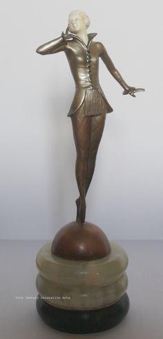 An Art Deco bronze and ivory sculpture by Josef Lorenzl, Austria circa 1930.