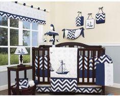 Geenny Explorer Nautical 13 Piece Crib Bedding Set. #nautical #cribset #babyroom #babyshowerideas #afflnk