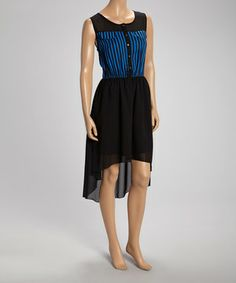 Look what I found on #zulily! Blue & Black Stripe-Bodice Sleeveless Dress by Millenium Clothing #zulilyfinds