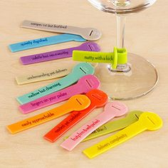 I already own these and I love them. Also excellent conversation starters! Wine Lines Reusable Glass Markers | World Market.