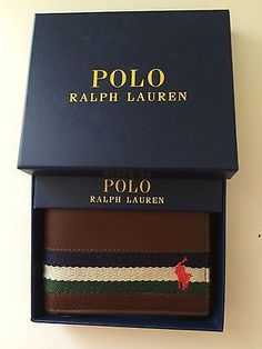 Polo Ralph Lauren Passcase Leather Wallet Mens Bifold Pony Logo Striped Brown