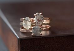 Natural Diamond Slice Ring in 14kt Rose Gold by LexLuxe on Etsy, $925.00