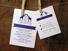 Wedding Invitation - clever happily ever after design with purple giraffes. $3.75, via Etsy.