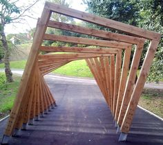 This amazing twisted frame 'tunnel' is only one of the incredible timber structures created by Handspring Design. https://handspringdesign.wordpress.com