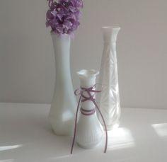 Vases verre lait vintage