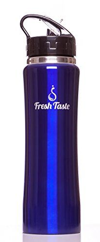Fresh Taste Stainless Steel Sports Water Bottle with Straw - 25 Ounce Double Wall Vacuum Insulated Water Bottle with Wide Mouth Opening - Leak Proof Lid - Holds Hot or Cold Liquid - BPA Free - Eco Friendly - Great Reusable Bottle for Adult and Kids (Navy Blue) * Check out this great product by click affiliate link Amazon.com