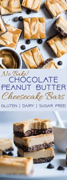 Dairy and Gluten Free No Bake Peanut Butter Cheesecake Bars - A super easy dessert with a yummy, crunchy chocolate rice krispie crust. You'd never know that they are gluten free, dairy free and made with better for you ingredients! | #Foodfaithfitness | #